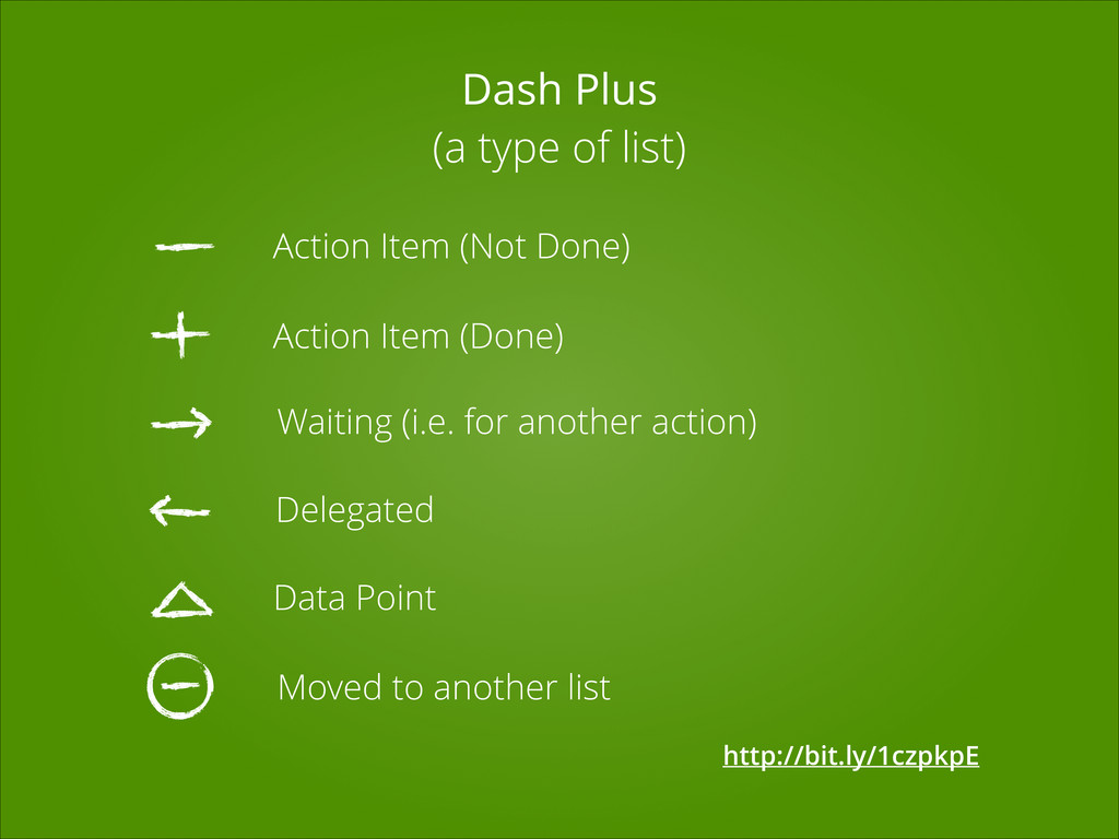 Dash Plus (a type of list) Action Item (Not Don...