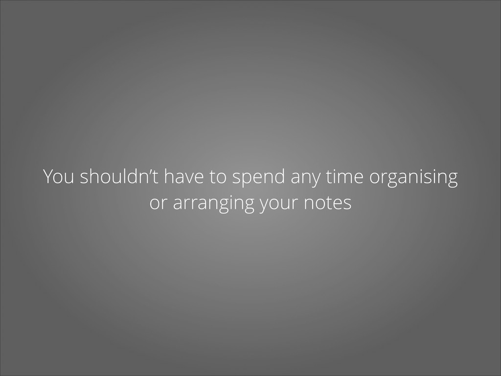 You shouldn't have to spend any time organising...
