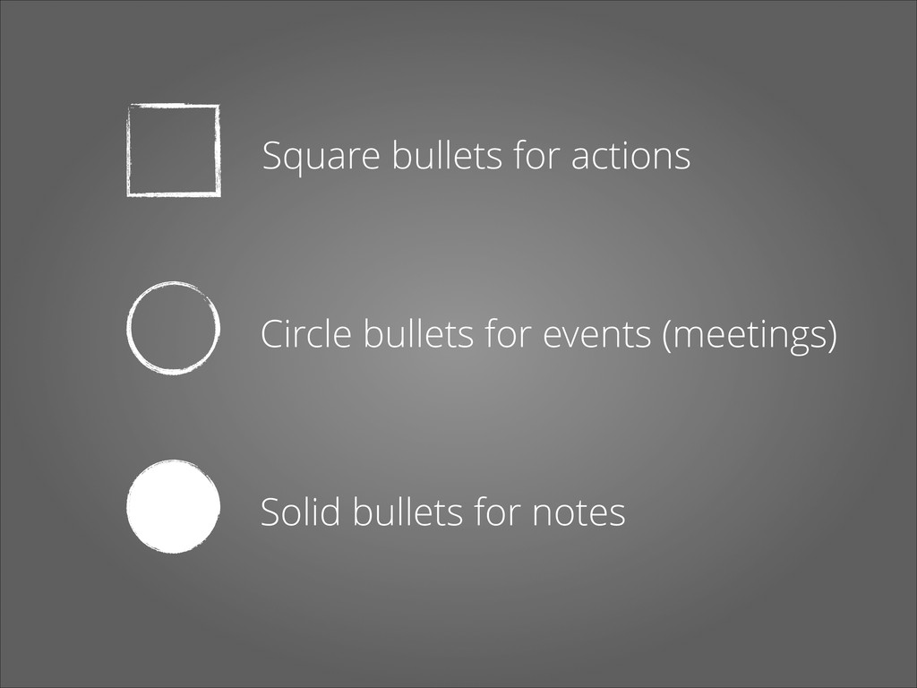 Square bullets for actions Circle bullets for e...