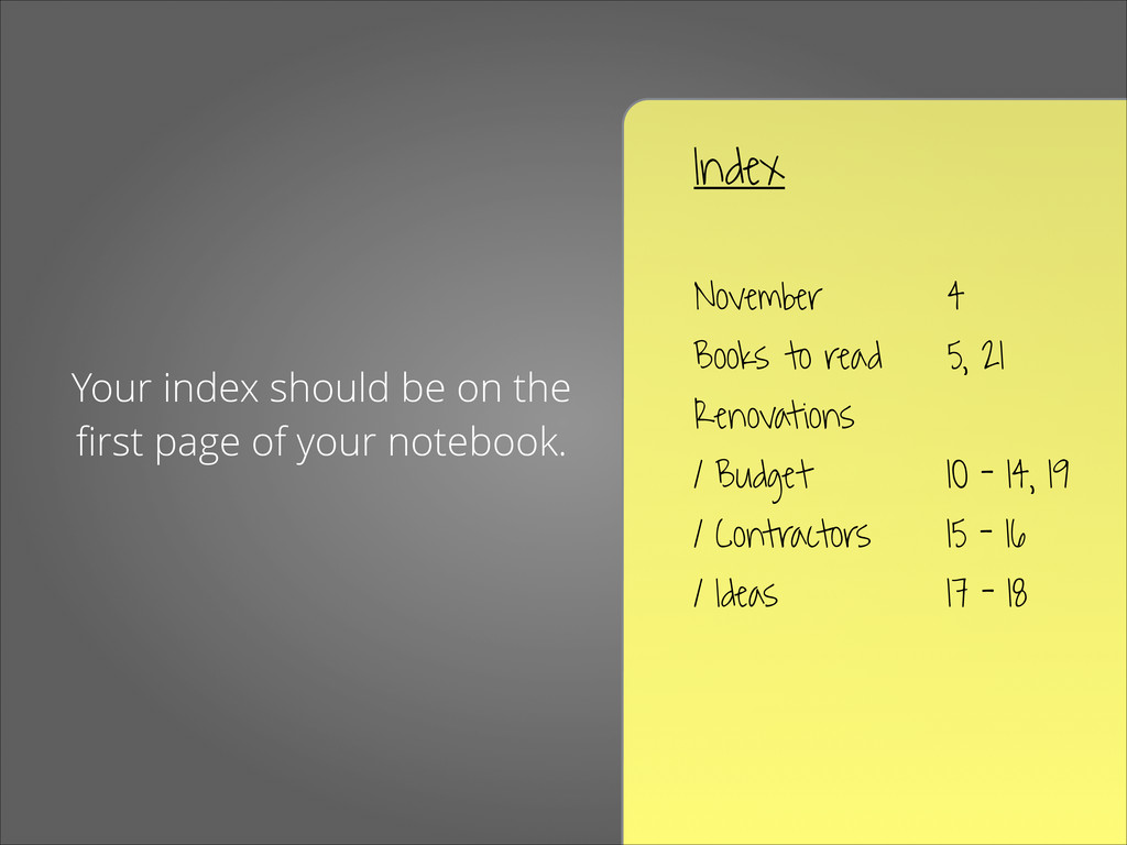 Your index should be on the first page of your n...