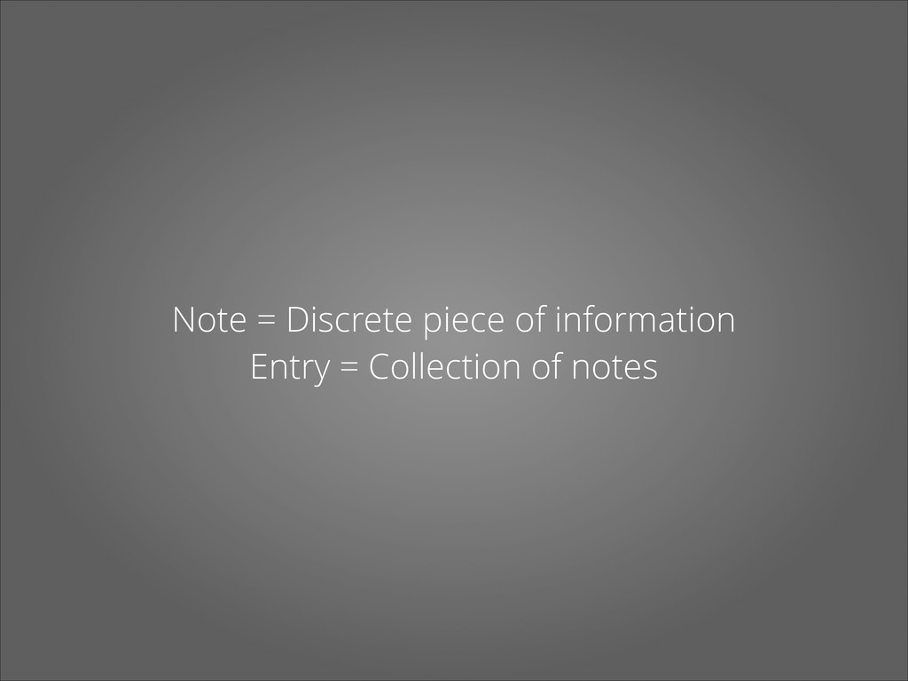 Note = Discrete piece of information Entry = Co...