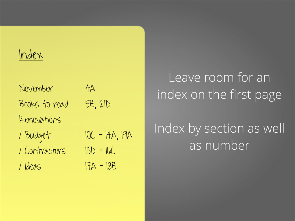 Index ! November 4A Books to read 5B, 21D Ren...