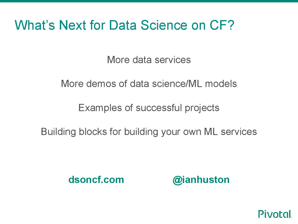 What's Next for Data Science on CF? More data s...