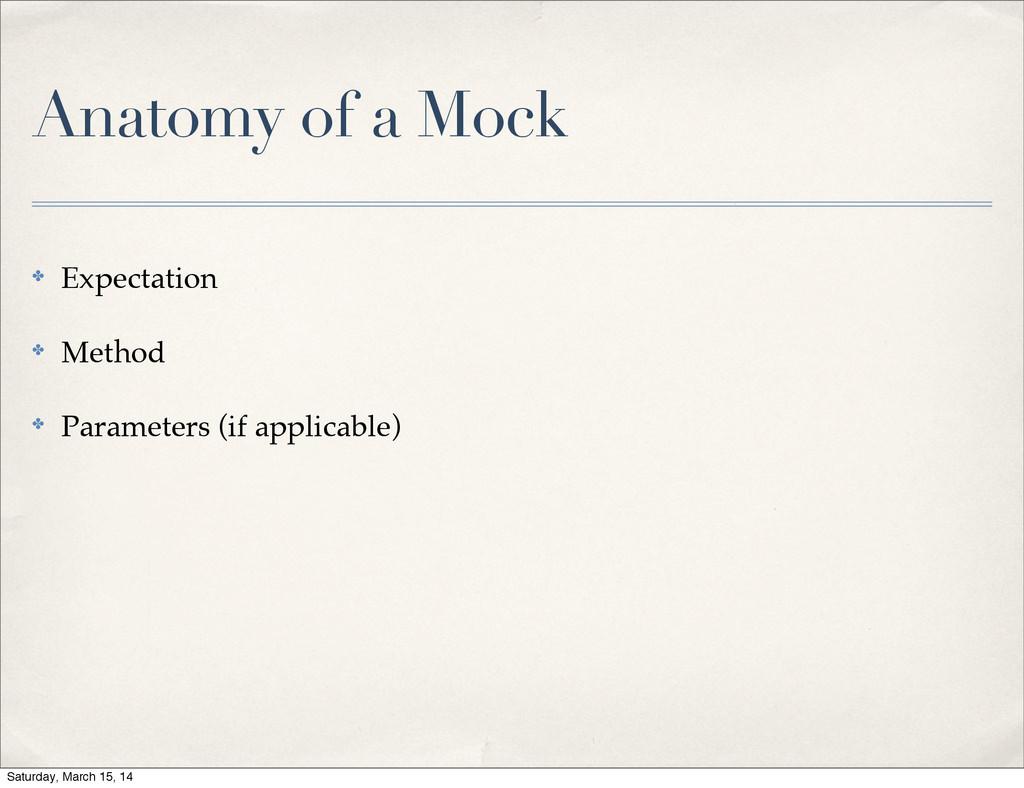 Anatomy of a Mock ✤ Expectation ✤ Method ✤ Para...