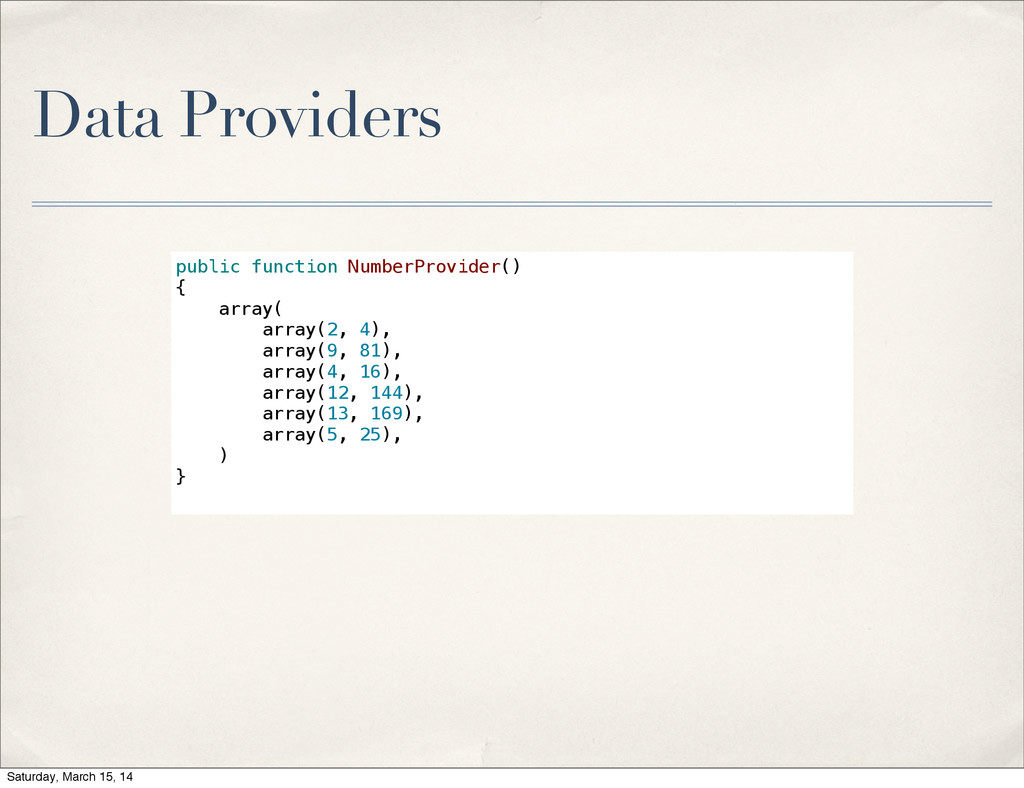 Data Providers public function NumberProvider()...