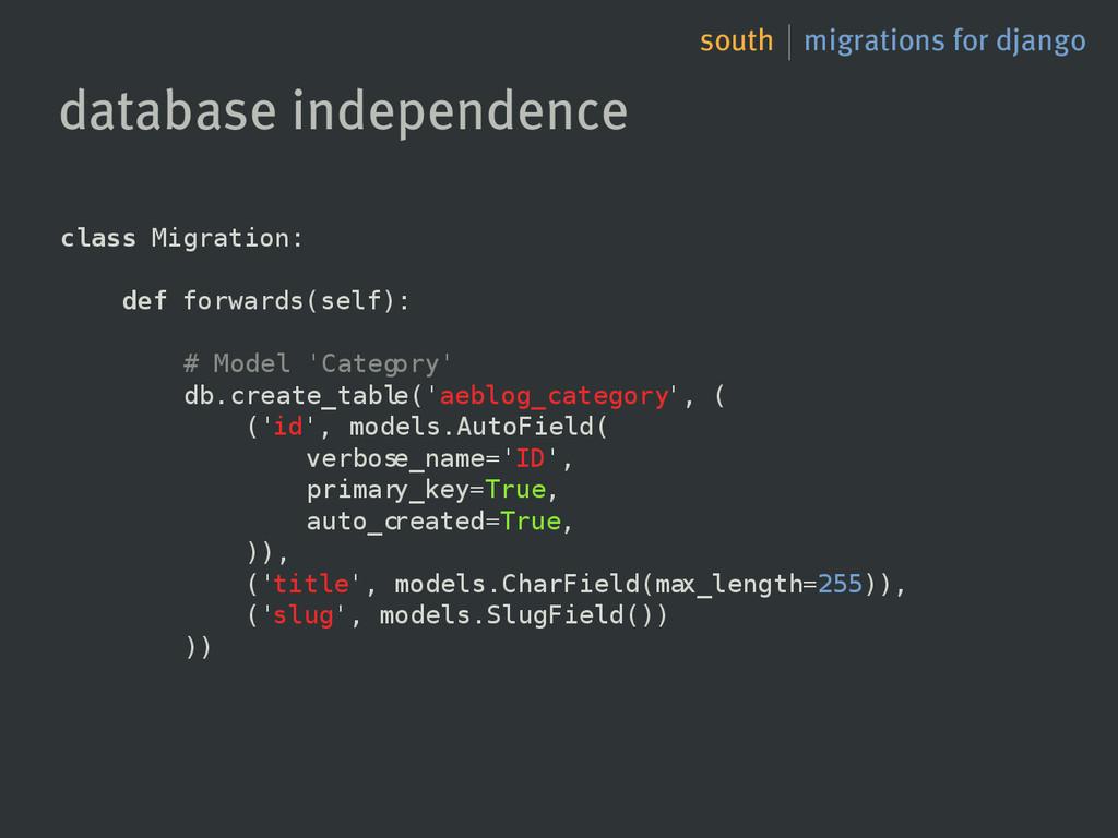 south migrations for django database independen...