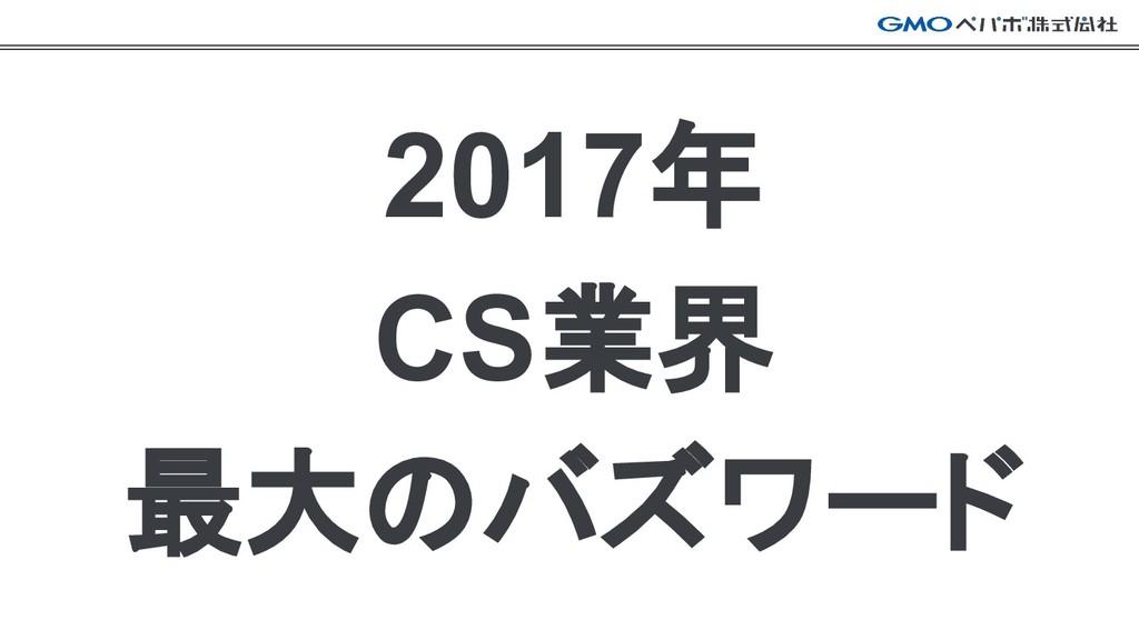 2017年 CS業界 最大のバズワード