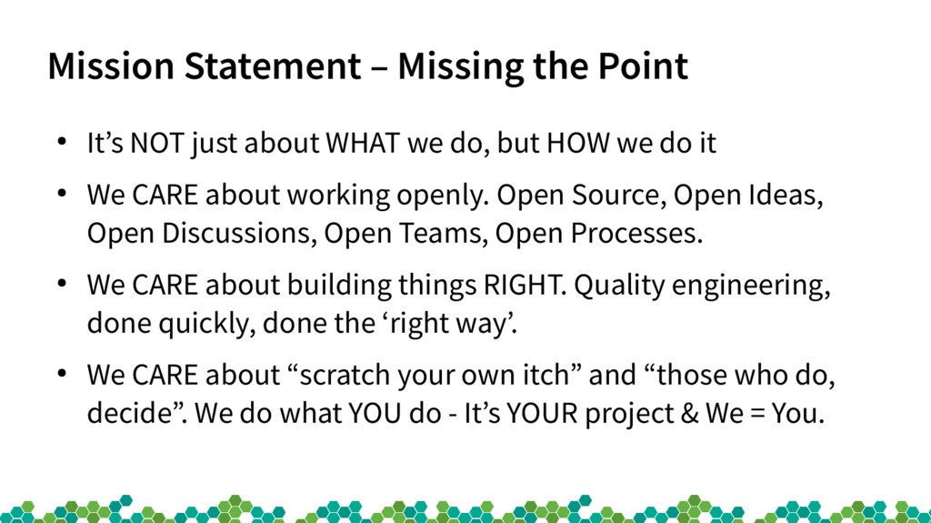 Mission Statement – Missing the Point ● It's NO...