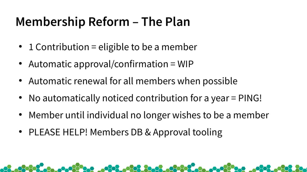 Membership Reform – The Plan ● 1 Contribution =...