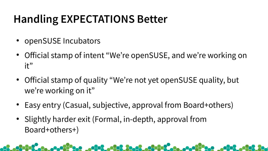 Handling EXPECTATIONS Better ● openSUSE Incubat...