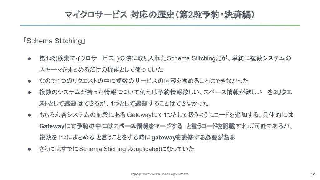 18 マイクロサービス 対応の歴史(第2段予約・決済編) 「Schema Stitching」...