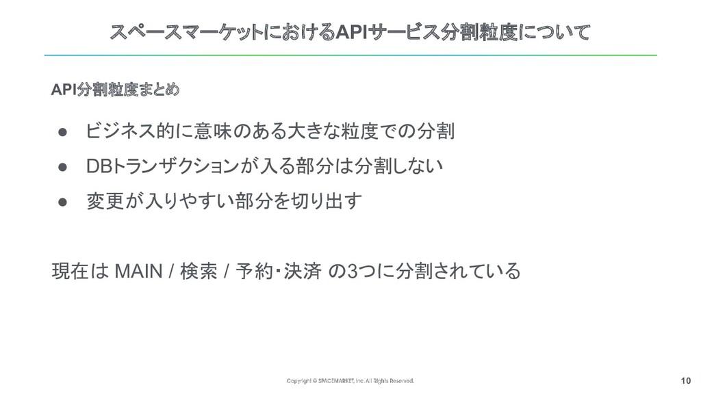 10 スペースマーケットにおけるAPIサービス分割粒度について API分割粒度まとめ ● ビジ...