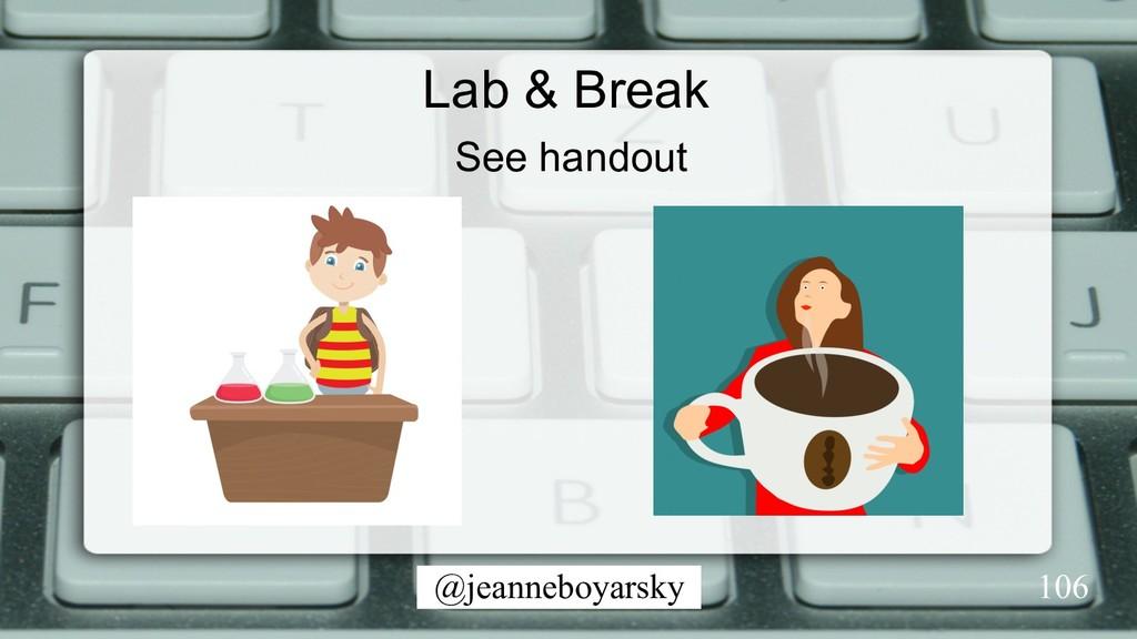 @jeanneboyarsky Lab & Break 106 See handout