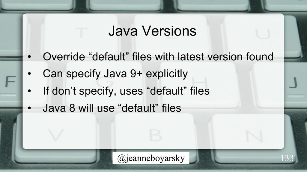"""@jeanneboyarsky Java Versions • Override """"defa..."""