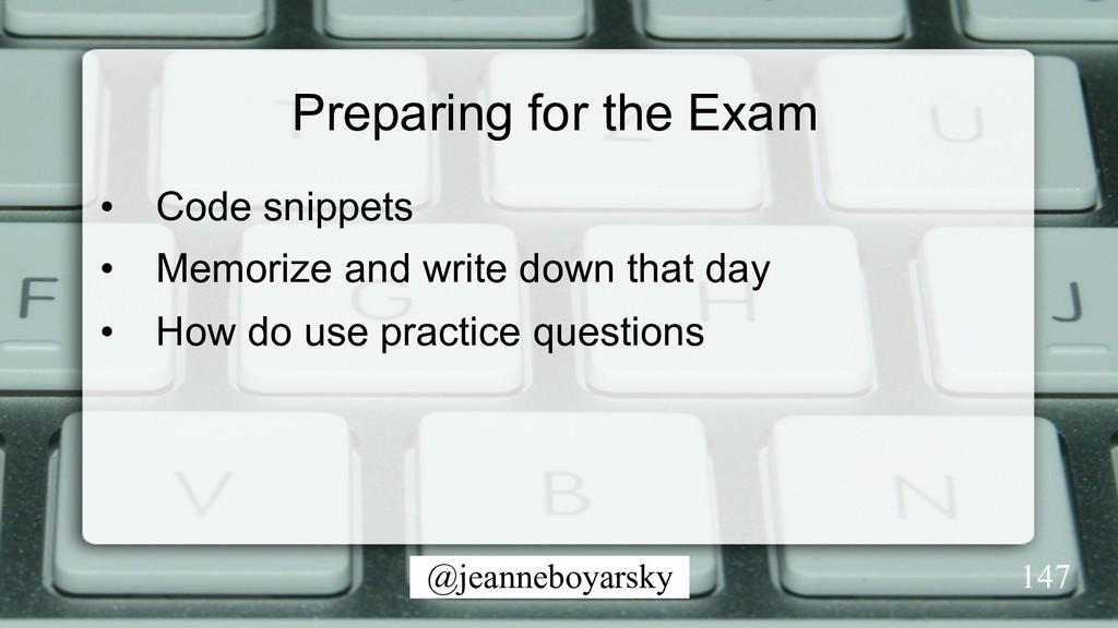 @jeanneboyarsky Preparing for the Exam • Code ...