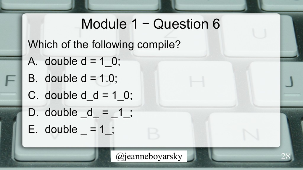 @jeanneboyarsky Module 1 – Question 6 Which of ...