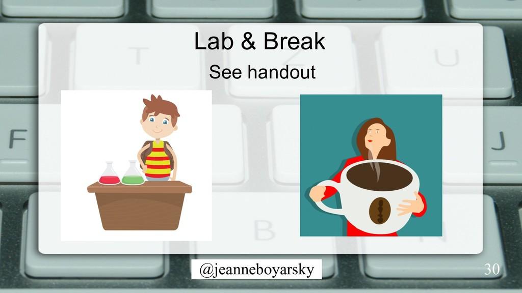 @jeanneboyarsky Lab & Break 30 See handout