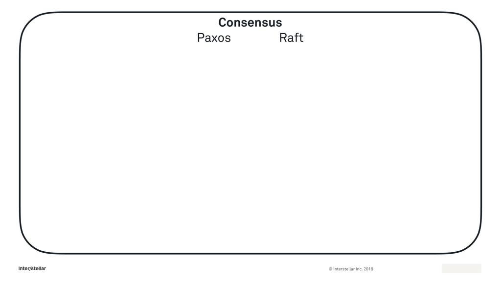 © Interstellar Inc. 2018 Consensus Paxos Raft