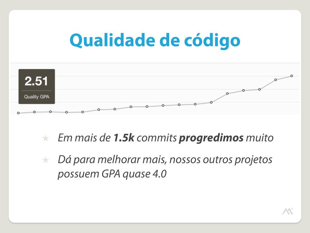 Qualidade de código ★ Em mais de 1.5k commits p...