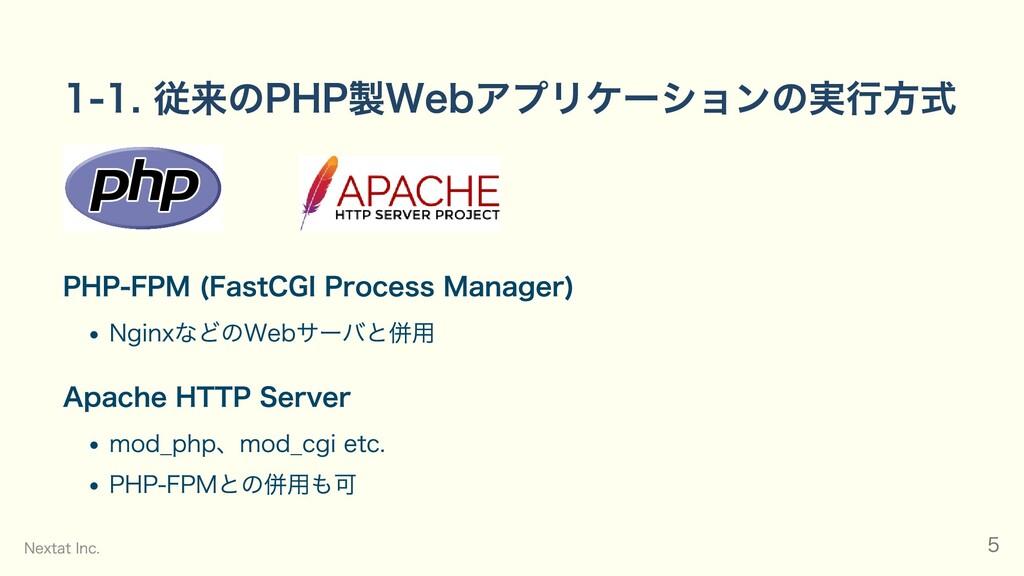 1-1. 従来のPHP製Webアプリケーションの実行方式     PHP-FPM (FastC...
