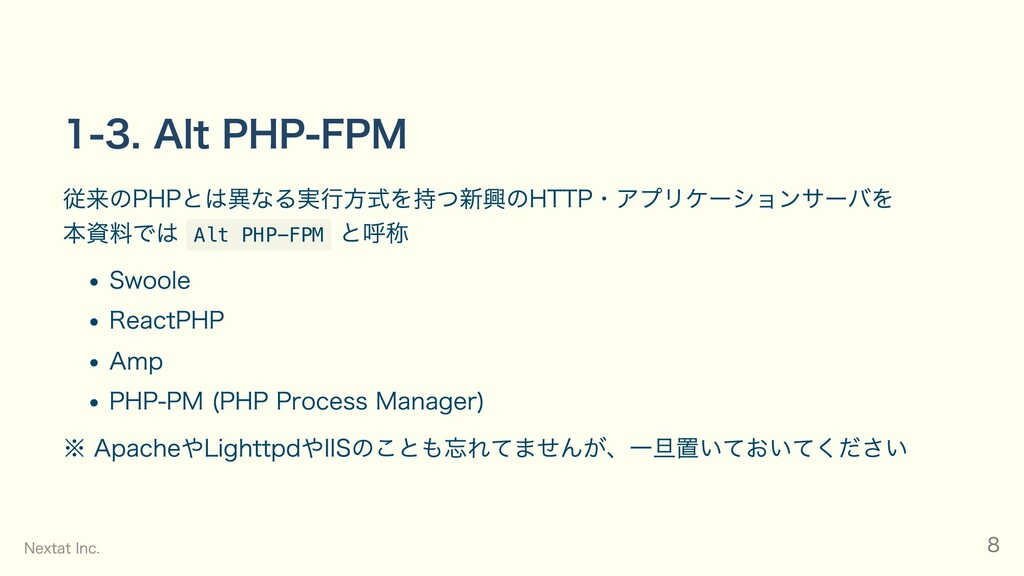 1-3. Alt PHP-FPM 従来のPHPとは異なる実行方式を持つ新興のHTTP・アプリケ...