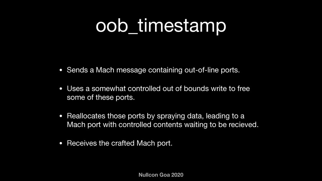 Nullcon Goa 2020 oob_timestamp • Sends a Mach m...