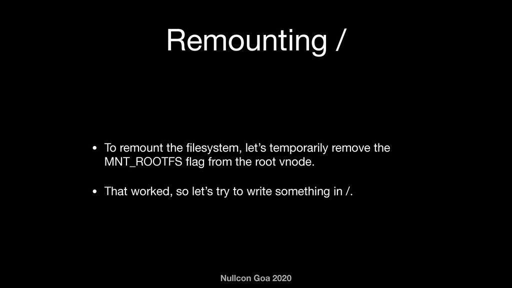 Nullcon Goa 2020 Remounting / • To remount the ...