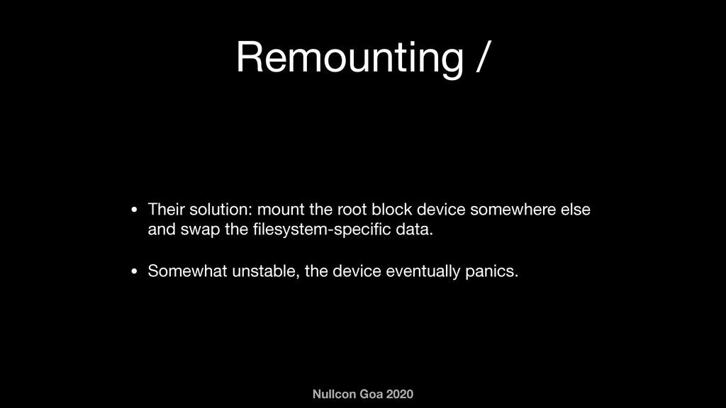Nullcon Goa 2020 Remounting / • Their solution:...