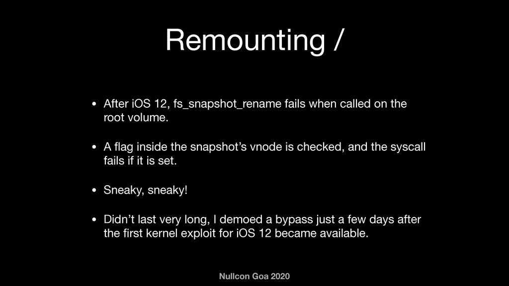 Nullcon Goa 2020 Remounting / • After iOS 12, f...