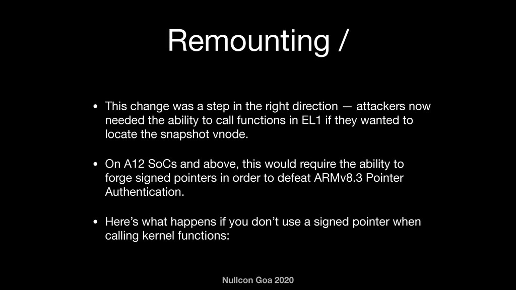 Nullcon Goa 2020 Remounting / • This change was...