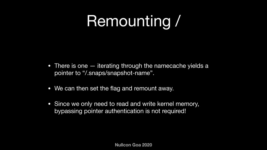 Nullcon Goa 2020 Remounting / • There is one — ...