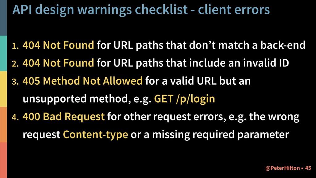 API design warnings checklist - client errors 1...