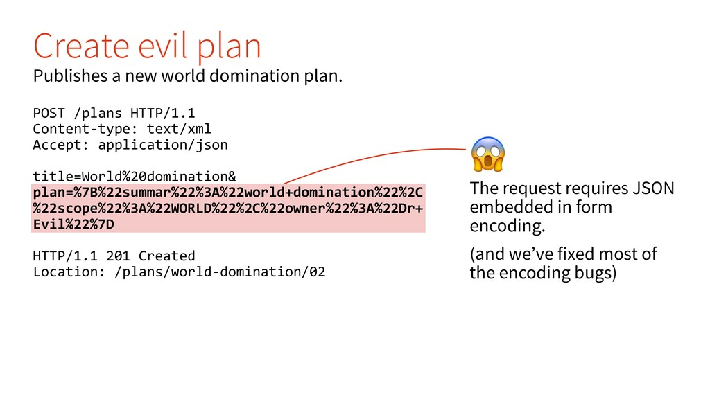 & The request requires JSON embedded in form en...