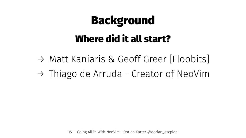 Background Where did it all start? → Matt Kania...