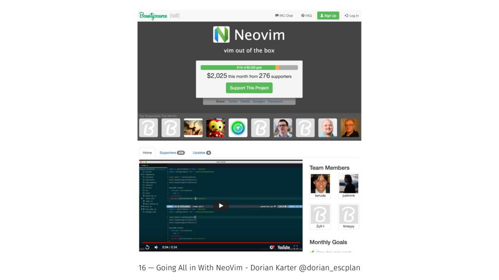 16 — Going All in With NeoVim - Dorian Karter @...