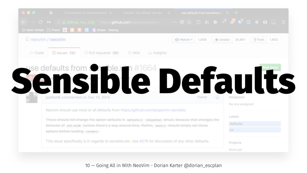 Sensible Defaults 10 — Going All in With NeoVim...