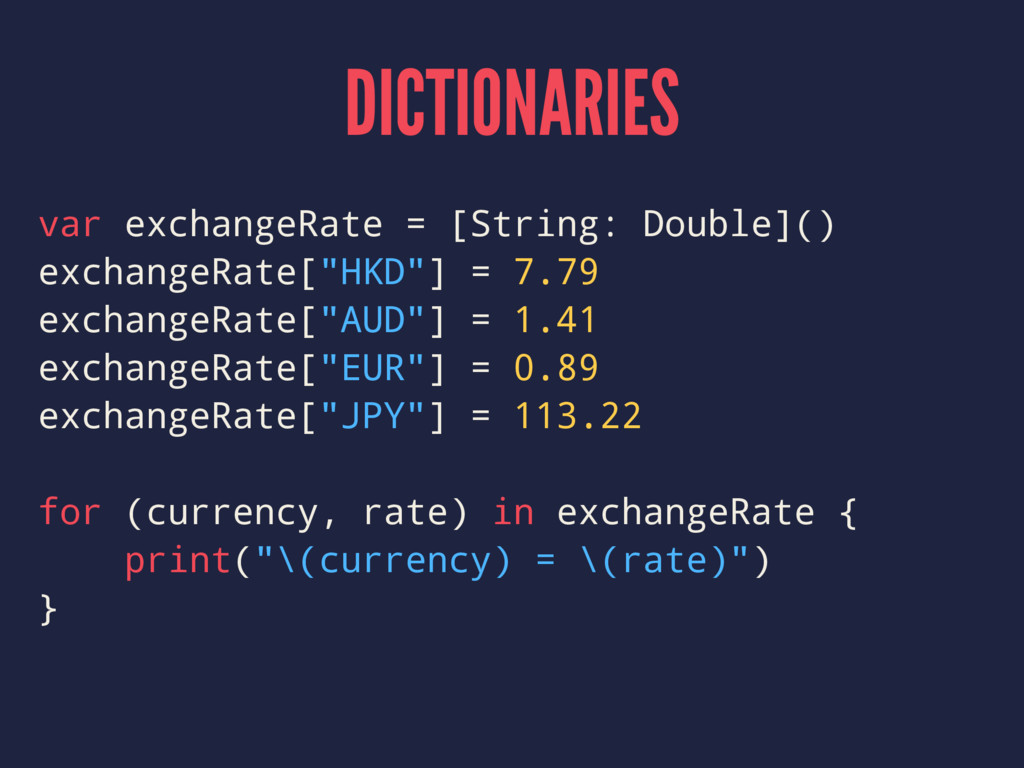 DICTIONARIES var exchangeRate = [String: Double...