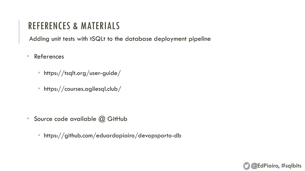 REFERENCES & MATERIALS Adding unit tests with t...