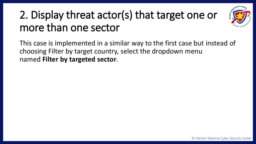 2. Display threat actor(s) that target one or m...