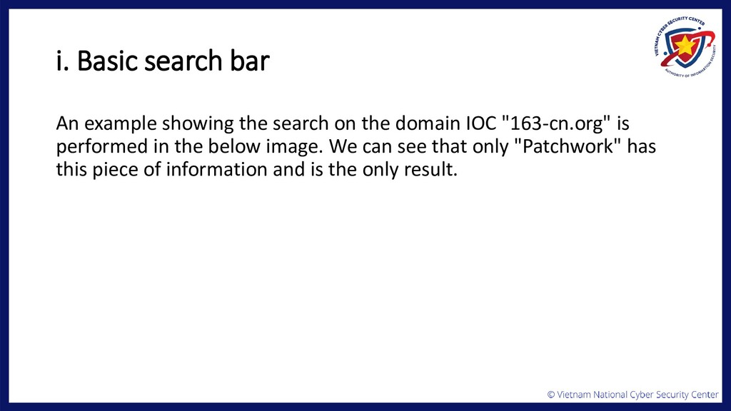 i. Basic search bar An example showing the sear...
