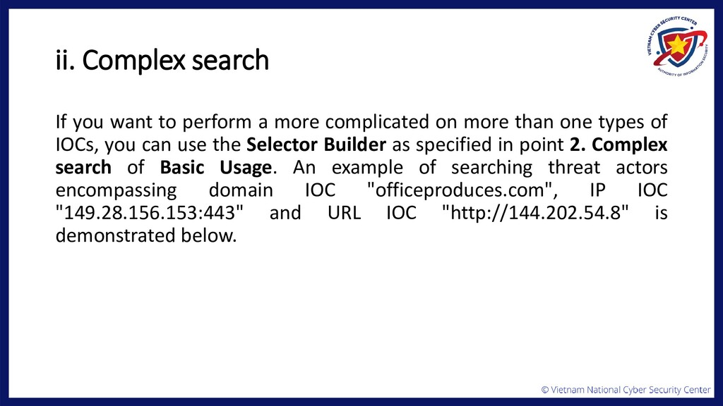 ii. Complex search If you want to perform a mor...
