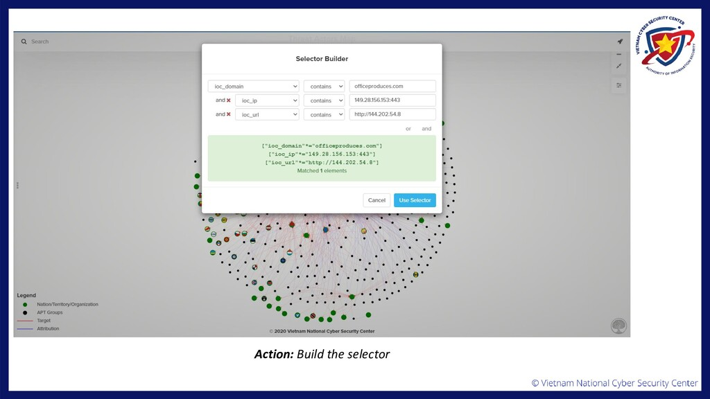 Action: Build the selector