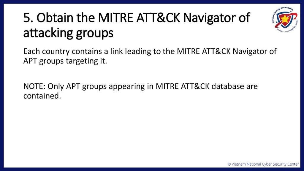 5. Obtain the MITRE ATT&CK Navigator of attacki...