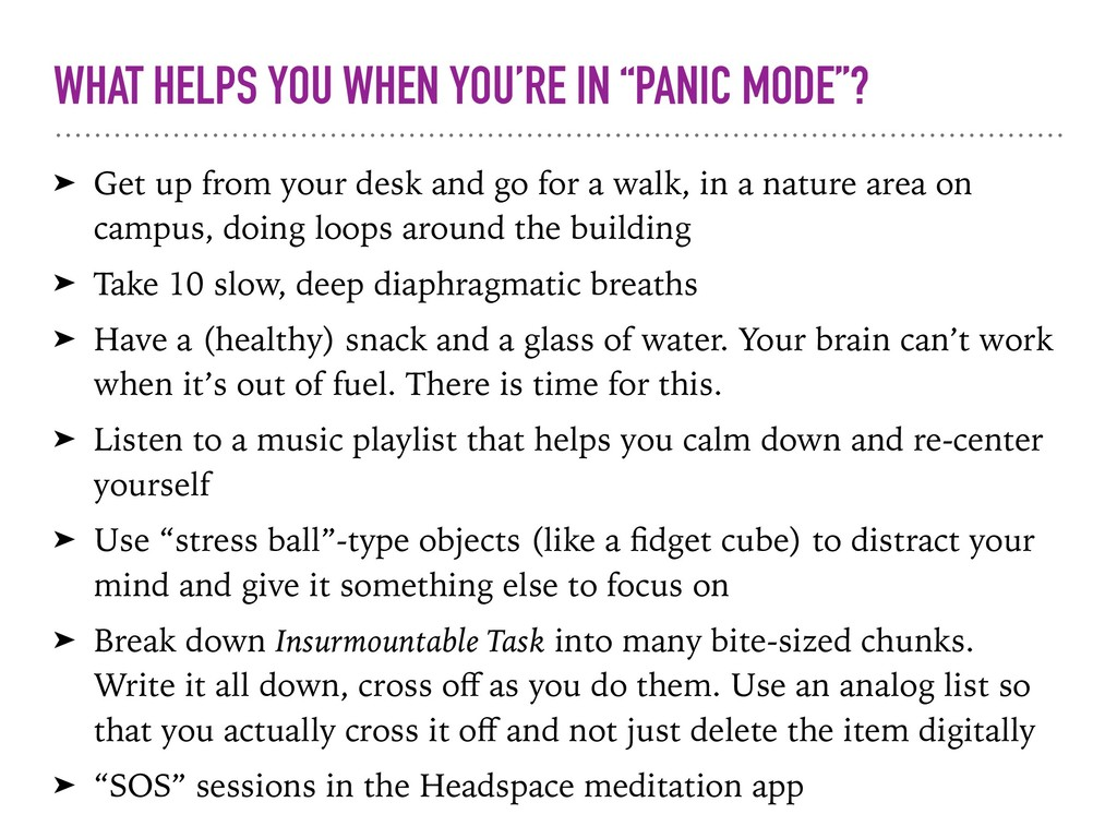"""WHAT HELPS YOU WHEN YOU'RE IN """"PANIC MODE""""? ➤ G..."""