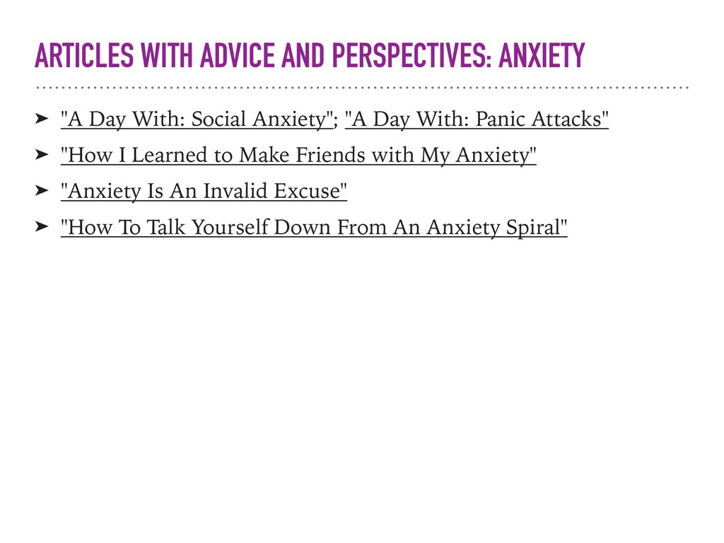 ARTICLES WITH ADVICE AND PERSPECTIVES: ANXIETY ...