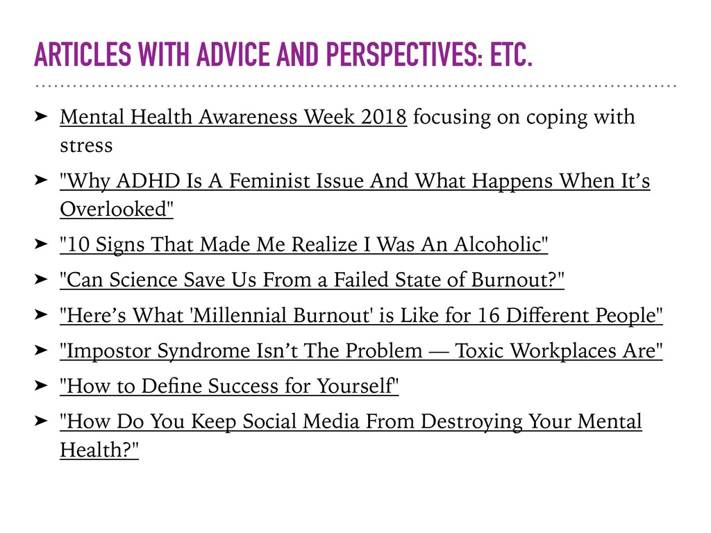 ARTICLES WITH ADVICE AND PERSPECTIVES: ETC. ➤ M...