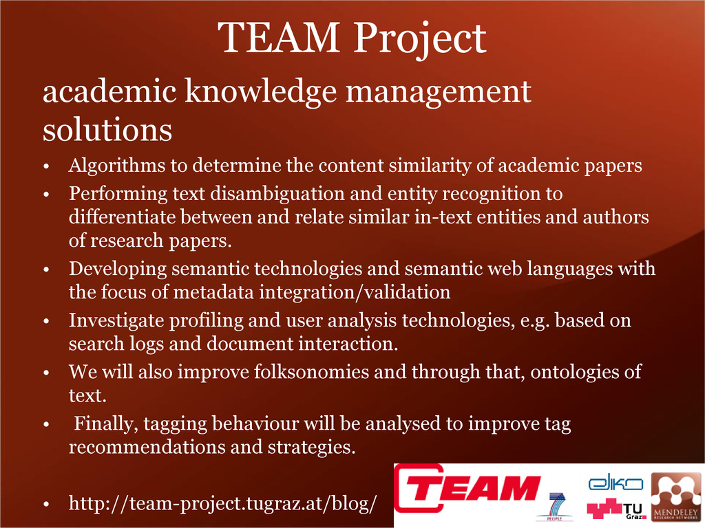TEAM Project academic knowledge management solu...