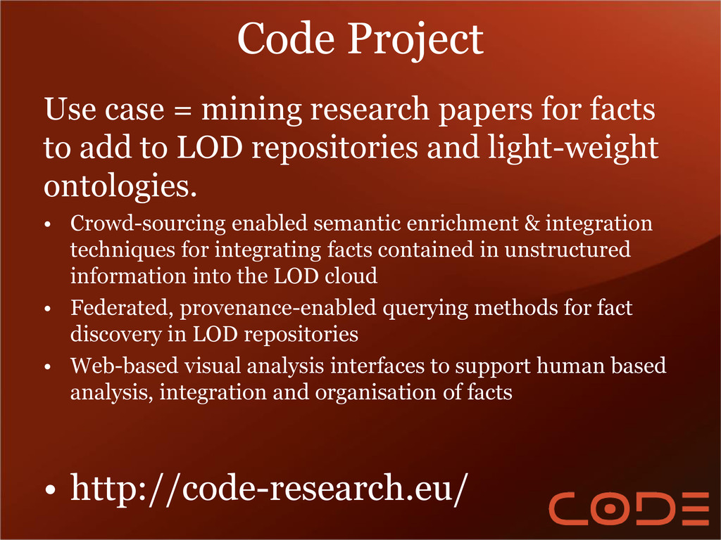 Code Project Use case = mining research papers ...