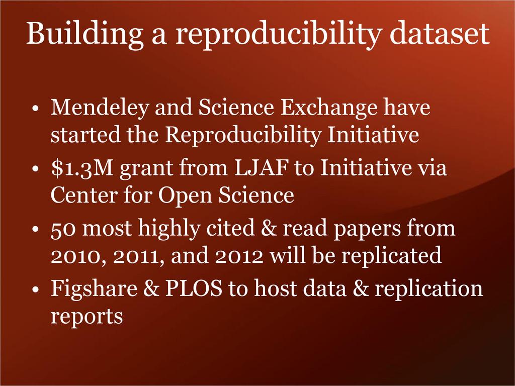 Building a reproducibility dataset • Mendeley a...