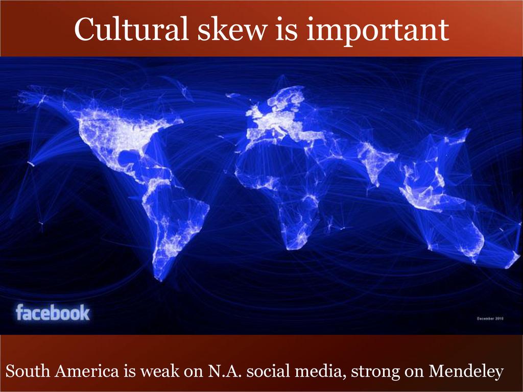 Cultural skew is important South America is wea...